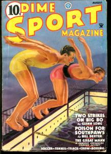 DIME SPORT MAGAZINE 1935 AUG-#2-SWIMMING COVER VG