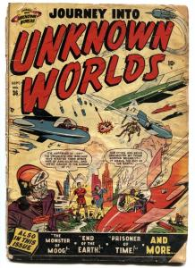 JOURNEY INTO UNKNOWN WORLDS #36 (#1) 1950-ATLAS-FIRST ISSUE-WILD COVER