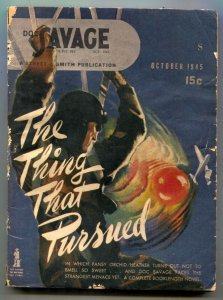 Doc Savage October 1945-The Thing That Pursued VG