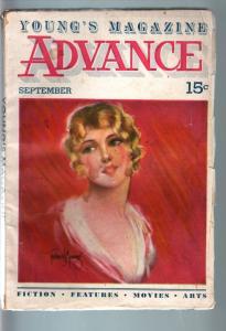 YOUNG'S MAGAZINE ADVANCE 1934 SEP-GORGEOUS CVR-PULP VG
