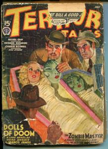 Terror Tales 7/1940-restrained woman-coffin-weird menace pulp-zombie-FR