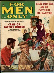 For Men Only 11/1959-Atlas-Nazis-Hitler-captive women-chesecake-MacArthur-GOOD
