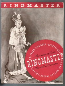 Ringmaster 5/1936-1st issue-caricatures of famous personalities-Chaplin-Hull=FN/