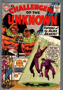 CHALLENGERS OF THE UNKNOWN #14-Monster COVER-ALIENS-DC-SCI FI SERIES-1959-G G+