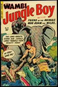 Wambi Jungle Boy #8 1950- Golden Age-Fiction House elephant cover VF-