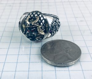 10k Samurai Artisan Made sterling silver Dragon ring