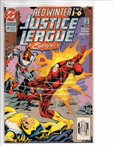 DC Comics Justice League Europe #45 Flash, Power Girl, Aquaman Red Winter Part 1