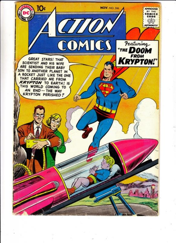 Action Comics #246 (Nov-58) VG Affordable-Grade Superman, Tommy Tomorrow, Con...