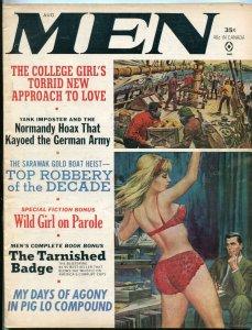 Men Magazine August 1965-MANJA PETERSEN-CHEESECAKE-ART ARFONS VG