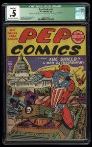 Pep Comics #4 CGC P 0.5 Off White to White The Shield!