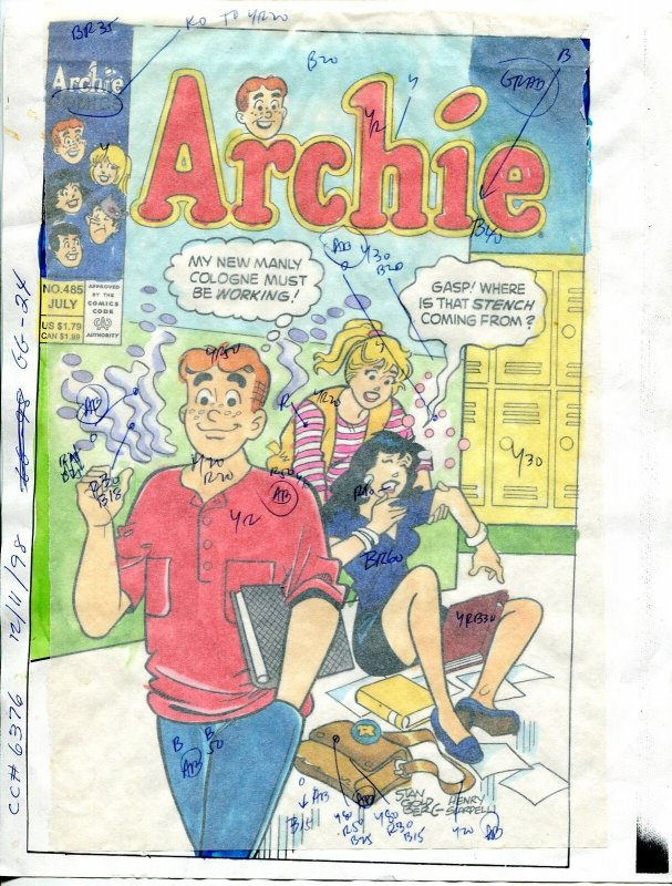 Archie Comics #485 Hand Painted Cover Color Guide-1998-Scarpelli-Goldberg-FN