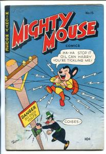 MIGHTY MOUSE #15 1950-ST JOHN-ELECTROCUTION COVER-good/vg