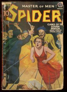 THE SPIDER JAN 1939 ASIAN MENACE IMPALEMENT COVER GGA G