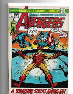 AVENGERS #106 - VF - MID GRADE BRONZE AGE CLASSIC ISSUE - MARVEL