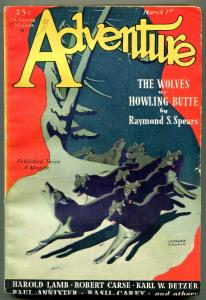 Adventure Pulp March 1st 1931-Wolves of Howling Butte- Harold Lamb FN-