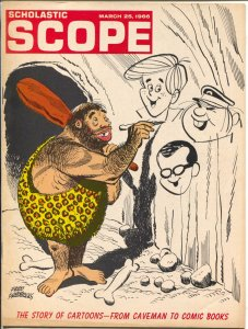 Scholastic Scope 3/25/1966-Story of Cartoons--From caveman To Comic Books-FN/VF