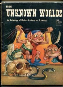 FROM UNKNOWN WORLDS-1948-CARTIER COVER-BLOCH-STURGEON-KUTTNER-vg