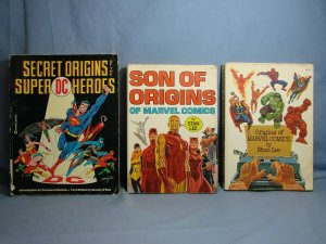 3 VINTAGE Superhero Origin Books Marvel & DC STAN LEE Warner & Fireside Books!!