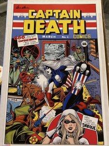 "LADY DEATH CAPTAIN DEATH 11""x17"" PRINT STEVEN BUTLER KIRBY SIMON HOMAGE SIGNED"