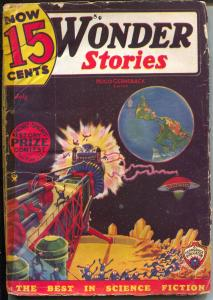 Wonder Stories 7/1935-Gernsback-Frank R Paul-sci-fi pulp thrills-P/F