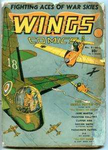 WINGS #8 1941- Skull Squad- Golden Age restored reading copy