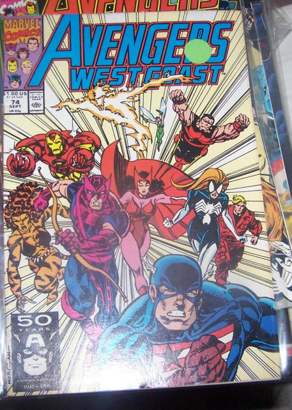 west coast avengers  # 74  SEPT 1991 CAPTAIN HAWKEYE SPIDERWOMAN IRONMAN