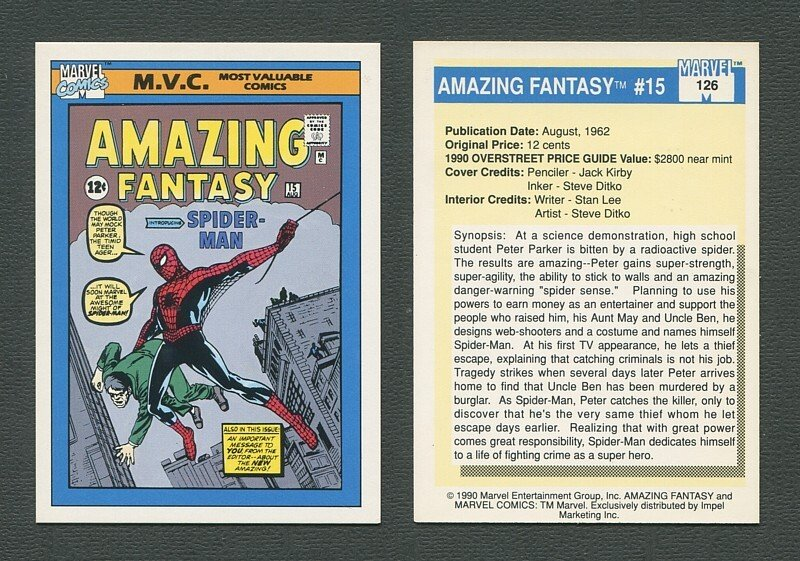 1990 Marvel Comics Card  #126 (Amazing Fantasy #15 Cover) / NM_MT