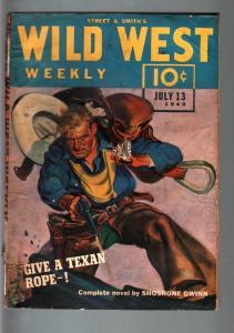 WILD WEST WEEKLY 7/13/1940-WESTERN PULP-SHOSHONE GWINN VG-