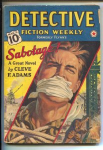 Detective Fiction Weekly 3/11/1939-Sabotage by Clive F Adams-Bound and gagg...