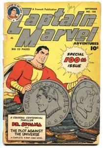 Captain Marvel Adventures #100 1949- Anniversary issue- Golden Age Fawcett G-
