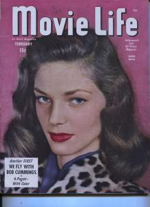 Movie Life-Lauren Becall-Gregory Peck-Jane Russell-Bob Cummings-Feb-1946