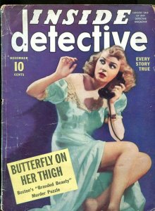 INSIDE DETECTIVE-12/1940-BUTTERFLY-HYPNOTIC KILLER-SHAKEDOWN-DEATH TRAP G