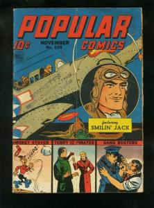 POPULAR COMICS #105 1944-SMILIN JACK-MILTON CANIFF-TERRY & PIRATES-very good VG