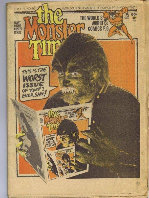 ORIGINAL Vintage 1974 The Monster Times Horror Newspaper Magazine #30 Werewolf