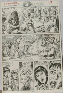 ERNIE CHAN Published Original Art SAVAGE SWORD of CONAN #152,pg 49, Signed w/art