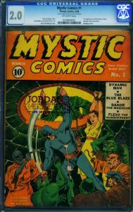MYSTIC COMICS #1-TIMELY-cgc 2.0-Rare comic book-0258608001