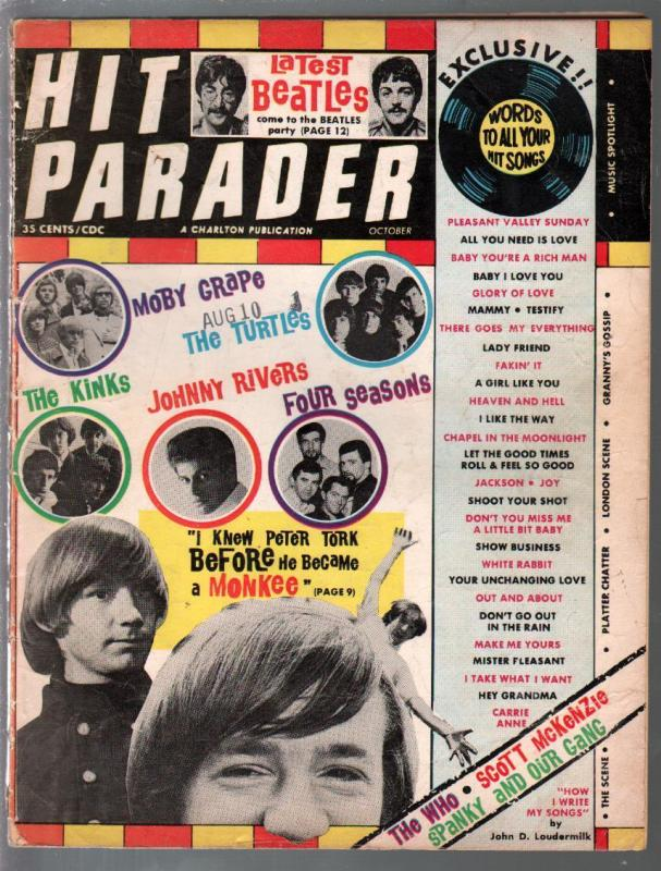Hit Parader 10/1967-Beatles-Monkees-Turtles-pix-info-lyrics-VG