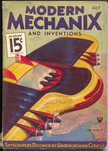 Modern Mechanix and Inventions 7/1934-Norman Saunders interior art-VG