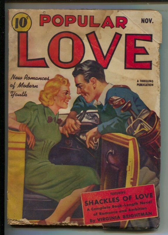Popular Love 11/1940-Thrilling-Golf clubs & convertible-Romantic cover-Earle ...