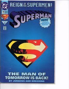 DC Comics Superman #78 1st App. Cyborg Superman Die-Cut Cover