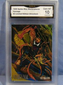 1995 Spider-Man Masterpieces Carnage #2 Limited Edition Chromium Card - GEM MT