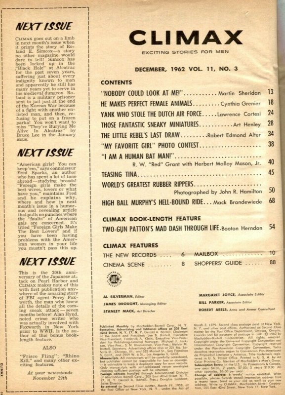 Climax Magazine December 1962- Patton- Drag Champs incomplete