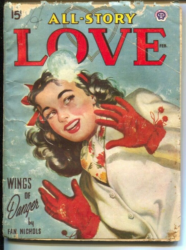 All Story Love 2/1945-pin-up girl cover-female pulp fiction authors-snowfall fig