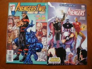 2 Near-Mint Marvel Comic: AVENGERS TWO: WONDER MAN & BEAST + AVENGERS FCBD Issue