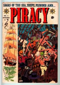 PIRACY #1-1954-E.C. COMICS-GOLDEN AGE-WALLY WOOD COVER ART VG-