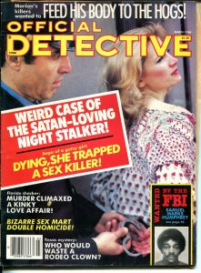 Official Detective 3/1986- handcuffed spicy babe-violent pulp crime thrills-VG