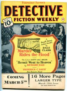 Detective Fiction Weekly Pulp March 8 1941- Murder Rides the Flood Dale Clark