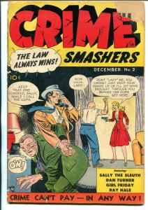 Crime Smashers #2 1950-Joe Kubert-Spicy Detective pulp characters-Bellem-G+