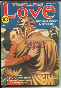 Thrilling Love 12/1940-aviation cover-romace pulp-football & dude ranch stori...