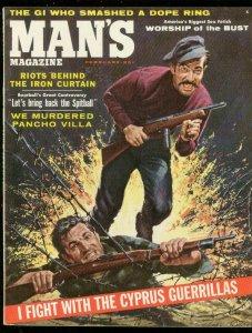 MAN'S MAGAZINE FEB 1957-CYPRUS GUERRILLAS-PANCHO VILLA VF